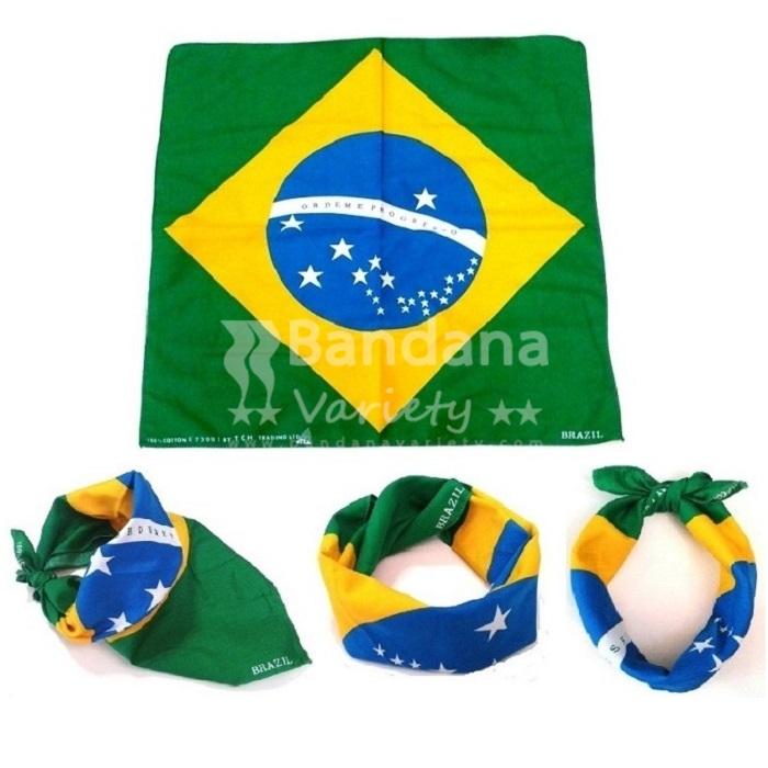 BRAZIL FLAG BANDANA Football Fan World Cup Party Head Wear Brazilian Scarf 1041B